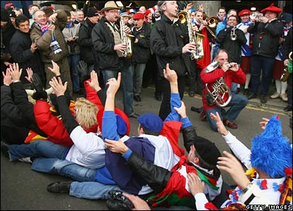 France fans outside Murrayfield