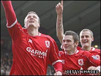 Robert Huth (left) celebrates scoring for Middlesbrough