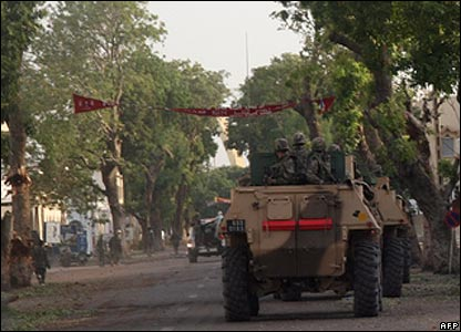 French APC on street in N'Djamena