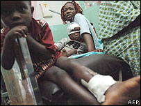 Injured children in hospital after earthquake, Bukavu, DR Congo