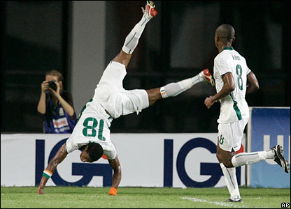 Abdelkader Keita celebrates his opening goal for Ivory Coast with a somersault