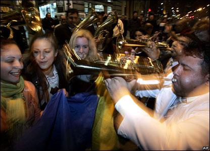 Supporters of pro-Western incumbent Boris Tadic celebrate in Belgrade, 3/2/08