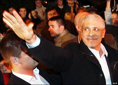 Serbian President Boris Tadic greets supporters, 3 February 2008