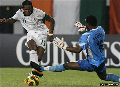 Didier Drogba fires the Ivory Coast's second goal past Guinea keeper Kemoko Camara