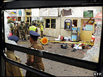 Bomb scene at Colombo station, 3 February 2008