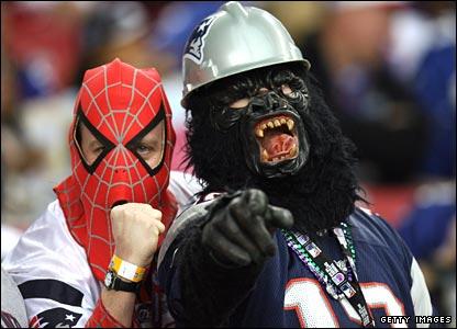 Patriots fans dress up at the Super Bowl.
