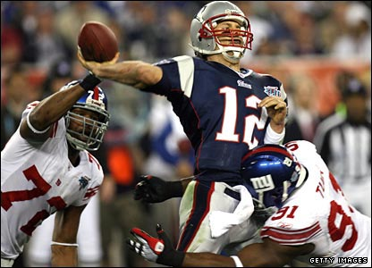 Tom Brady is sacked three times in the first half.