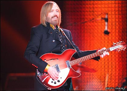 Tom Petty on stage at the University of Phoenix Stadium.