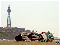 The stricken ferry Riverdance off Blackpool