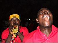 Ghanaian fans celebrate in Takoradi