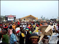 Ghanaian fans at half time in Takoradi