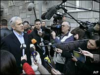 Serbian President Boris Tadic speaks to reporters in Belgrade. File photo