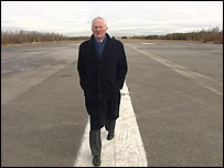 Harry Gregg on the old runway where the crash happened