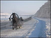 A horse-driven sleigh in Ulyanovsk