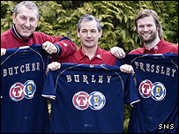 George Burley flanked by Terry Butcher (left) and Steven Pressley