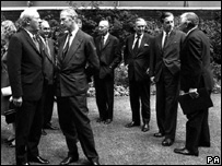 Lord Thomas (third right in background) was appointed to the Wales post by Ted Heath