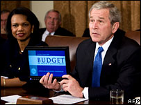 US President George W Bush presents the 2009 budget to his cabinet