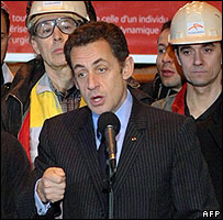 French President Nicolas Sarkozy with Arcelor Mittal workers at Gandrange, 4 Feb 08