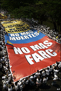 People in Cali, Colombia, demonstrate against the Farc