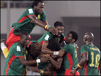 Cameroon celebrate their win