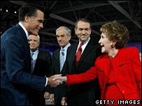 Mitt Romney, John McCain, Ron Paul and Mike Huckabee with Nancy Reagan
