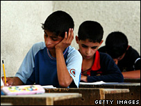 Iraqi boys take their final examinations on 29 May 2007 in Baghdad