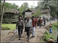 Officials at a bird flu affected village in West Bengal