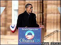 Barack Obama launching his presidential bid in February 2007
