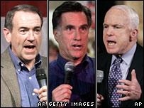 Mike Huckabee, Mitt Romney, John McCain