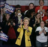 Hillary Clinton during a campaign stop in Massachusetts