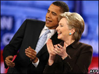 Barack Obama and Hillary Clinton at a debate on 31 January at the Kodak Theatre in Los Angeles