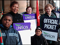 Birmingham City Council workers join the strike, with support from their families