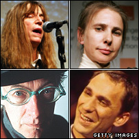 [Clockwise, L-R, from top left]: Patti Smith, Lionel Shriver, Will Self, Roger McGough