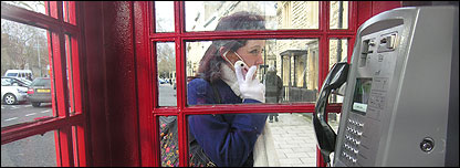 Jenny Atkins on her mobile phone in Oxford