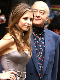 Harrod's owner Mohammed Al-Fayed and Sarah Michelle Gellar