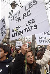 Marcha contra las FARC en París, Francia