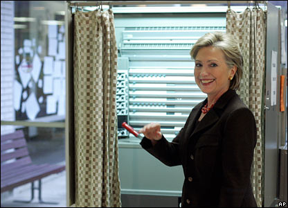 Senator Hillary Clinton votes in Chappaqua, New York