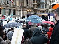 The rally at Birmingham Town Hall