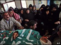 جنازة فلسطيني قتل في غارات الاثنين 4/2/2008 في غزة
