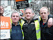 Refuse collectors at the protest rally
