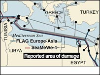 Map showing where damage was done