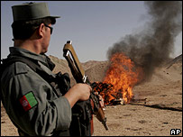 Confiscated drugs set ablaze in Herat, Afghanistan