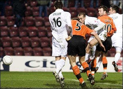 Darren Dods (second left) scores the equaliser for Dundee United