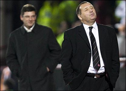Dundee United manager Craig Levein (left) and Aberdeen boss Jimmy Calderwood