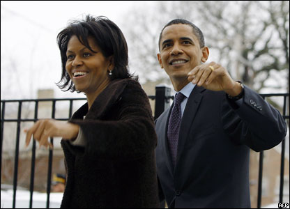 Senator Barack Obama and his wife Michelle in Illinois