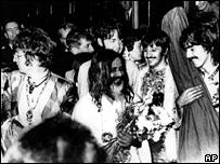 Maharishi Mahesh Yogi with the Beatles in 1968