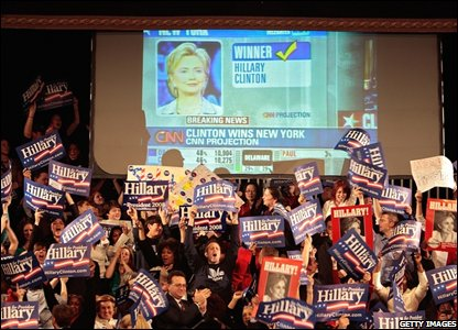 Senator Hillary Clinton�s supporters in the Grand Ballroom of the Manhattan Centre in New York City.