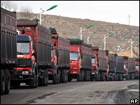 Trucks carry coal to provinces hit by power failures on 4 February 2008