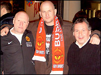 Manchester United fans (l to r) Mick Wilcock, David Cottam, Alan Taylor