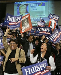 Hillary Clinton supporters at her primary night rally in New York